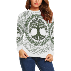 Awesome Celtic Tree Of Life All Over Print Crewneck Sweatshirt for Women (Model H18)