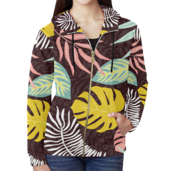 Tropical Print with Pastel Leaves All Over Print Full Zip Hoodie for Women (Model H14)