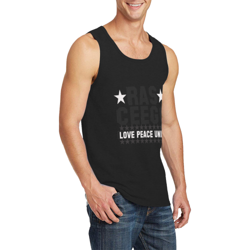 Ras CeeGo black and white Men's All Over Print Tank Top (Model T57)