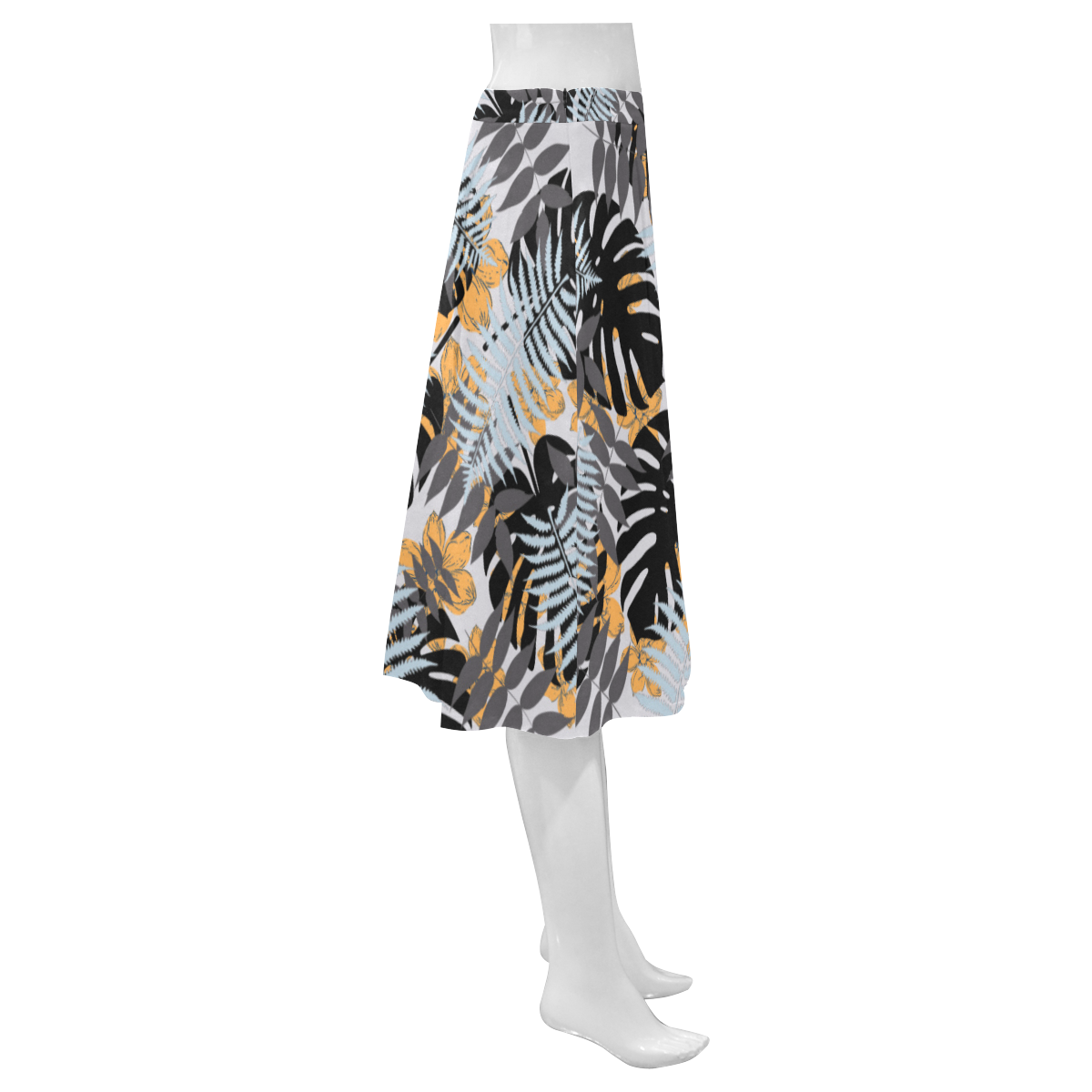 Palm Graphic Mnemosyne Women's Crepe Skirt (Model D16)