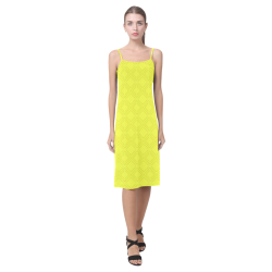Brite Yellow Diamond Squares Alcestis Slip Dress (Model D05)