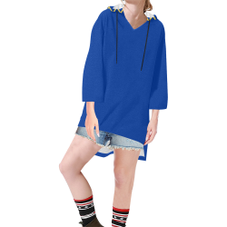 Chevron Jaune/Bleu Step Hem Tunic Hoodie for Women (Model H25)