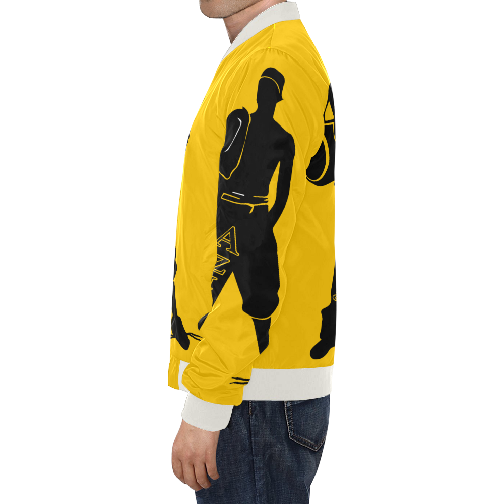 Aziatic Black & Yellow Jacket All Over Print Bomber Jacket for Men/Large Size (Model H19)