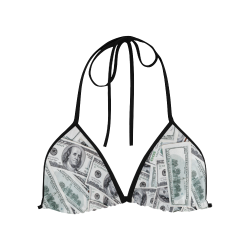 Cash Money / Hundred Dollar Bills Black Strap Custom Bikini Swimsuit Top