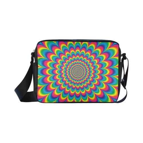 Crazy Psychedelic Flower Power Hippie Mandala Classic Cross-body Nylon Bags (Model 1632)
