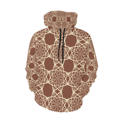 Brown and Beige Flowers Pattern All Over Print Hoodie for Women (USA Size) (Model H13)