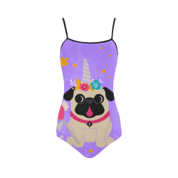 Fawn Pug Unicorn Strap Swimsuit Strap Swimsuit ( Model S05)