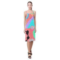 Colorful Abstract Art Sundress Alcestis Slip Dress (Model D05)