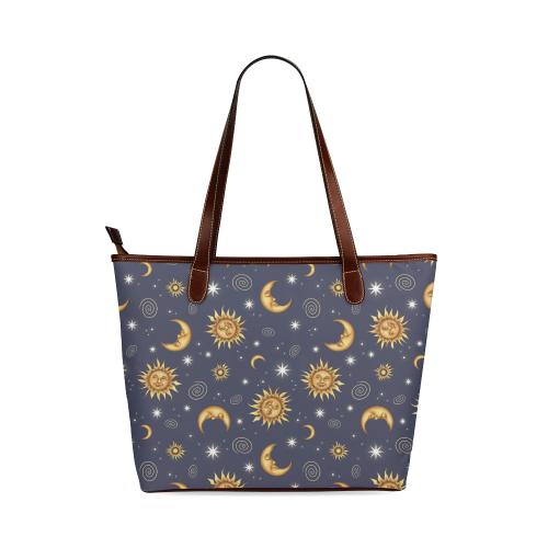 Vintage Celestial Pattern Shoulder Tote Bag (Model 1646)