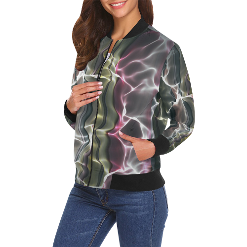 Abstract Wavy Mesh All Over Print Bomber Jacket for Women (Model H19)