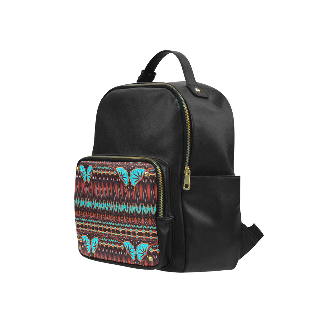 K172 Wood and Turquoise Abstract Pattern Campus backpack/Large (Model 1650)