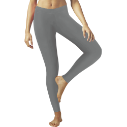 Shiny Grey Metallic Low Rise Leggings (Invisible Stitch) (Model L05)