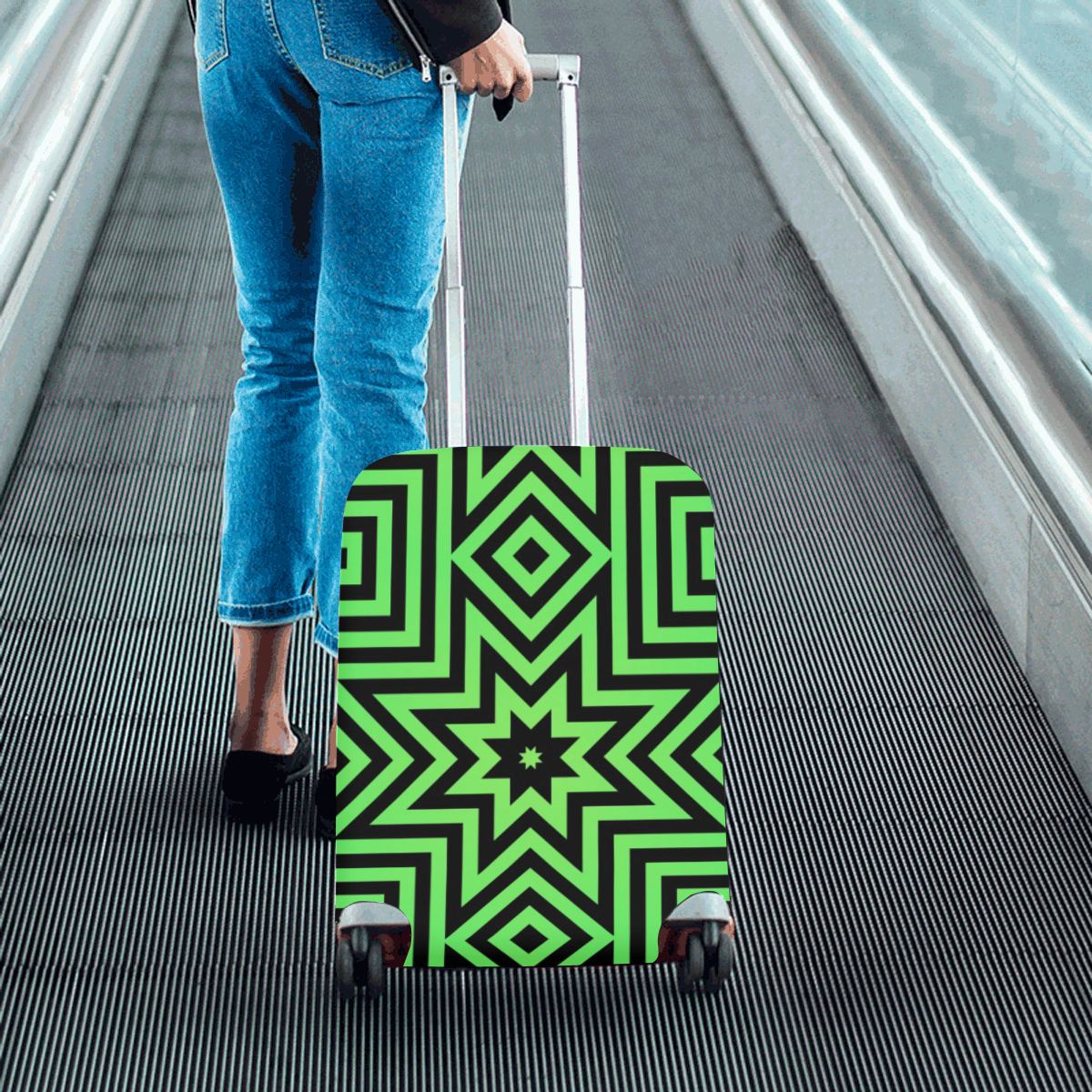 """Green/Black Tribal Pattern Luggage Cover/Small 18""""-21"""""""