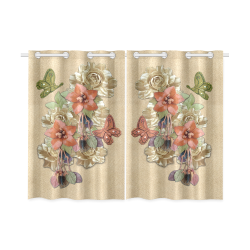 """Leather craft flowers Kitchen Curtain 26"""" X 39"""" (Two Piece)"""