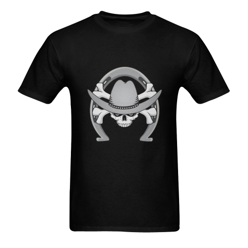 Cowboy Skull with Horseshoe Men's T-Shirt in USA Size (Two Sides Printing)