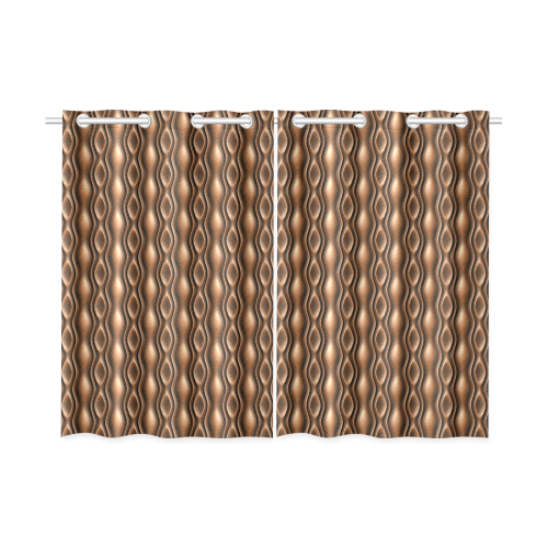 """brown leather abstract wave Kitchen Curtain 26"""" X 39"""" (Two Piece)"""