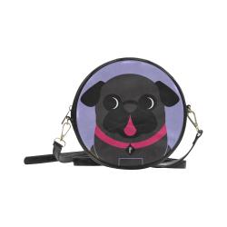 Black Pug on Lavender Round Sling Bag (Model 1647)