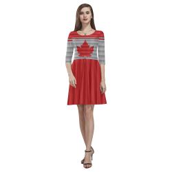 Canada Skater Dress Winter Wool Print Tethys Half-Sleeve Skater Dress(Model D20)
