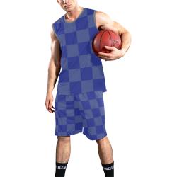 Blue Checkered All Over Print Basketball Uniform