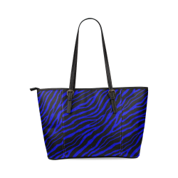 Ripped SpaceTime Stripes - Blue Leather Tote Bag/Large (Model 1640)