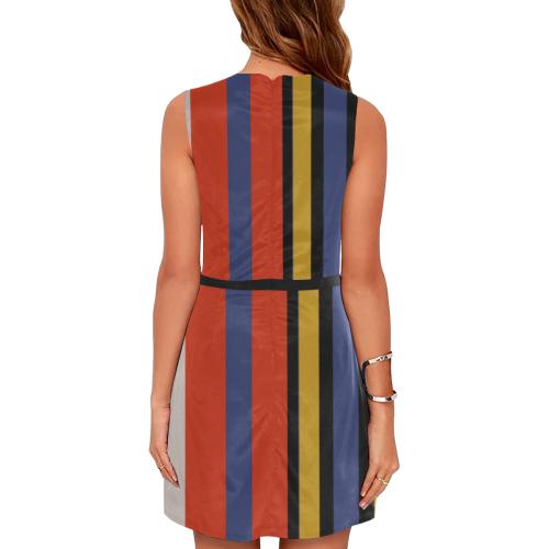 Elegant Stripes Eos Women's Sleeveless Dress (Model D01)