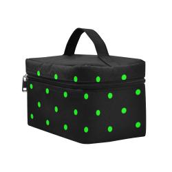 Green Polka Dots on Black Cosmetic Bag/Large (Model 1658)