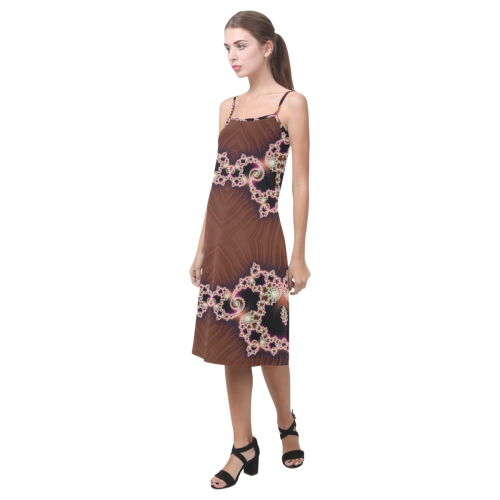Copper and Pink Hearts Lace Fractal Abstract Alcestis Slip Dress (Model D05)