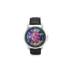 Blue pink watercolors Unisex Stainless Steel Leather Strap Watch(Model 202)
