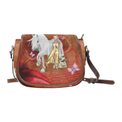Unicorn with fairy and butterflies Saddle Bag/Small (Model 1649) Full Customization