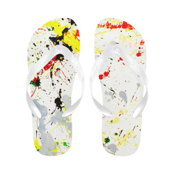 Yellow & Black Paint Splatter Flip Flops for Men/Women (Model 040)