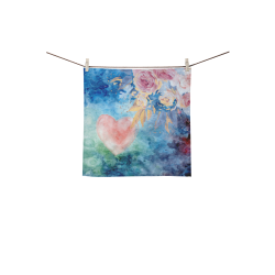 "Heart and Flowers - Pink and Blue Square Towel 13""x13"""