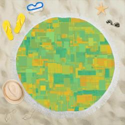 "Summer Colors Abstract Pattern Circular Beach Shawl 59""x 59"""