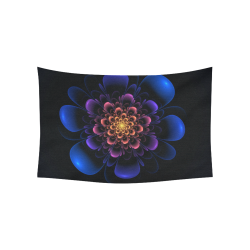 "Fractal Bloom Cotton Linen Wall Tapestry 60""x 40"""