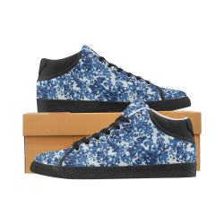 Digital Blue Camouflage Women's Chukka Canvas Shoes (Model 003)