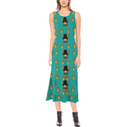 Happy rabbits in the green free grass Phaedra Sleeveless Open Fork Long Dress (Model D08)