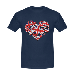 Union Jack British UK Flag Heart Men's T-Shirt in USA Size (Front Printing Only)