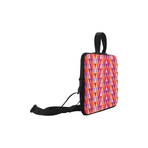 "Triangle Pattern - Red Purple Pink Orange Yellow Laptop Handbags 10"""