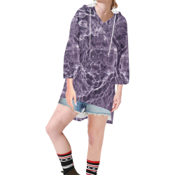 Lilac Bubbles Step Hem Tunic Hoodie for Women (Model H25)