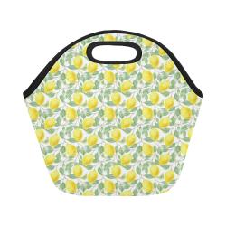 Lemons And Butterfly Neoprene Lunch Bag/Small (Model 1669)