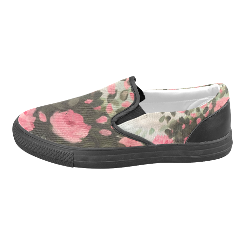 Roses & Bushes - Women's Unusual Slip-on Canvas Shoes (Model 019)