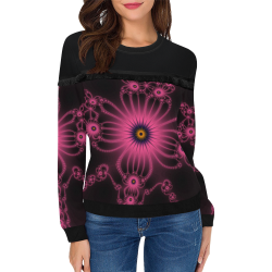 Fuchsia Flower Bloom Women's Fringe Detail Sweatshirt (Model H28)