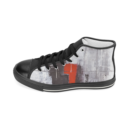 Black & red Men's Classic High Top Canvas Shoes (Model 017)