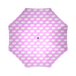 Clouds and Polka Dots on Pink Foldable Umbrella (Model U01)