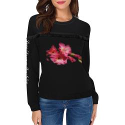 Pink Gladiolus #LoveDreamInspireCo Women's Fringe Detail Sweatshirt (Model H28)