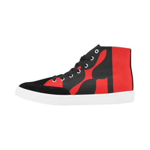 black ivolve in red Herdsman High Top Shoes for Women (Model 038)