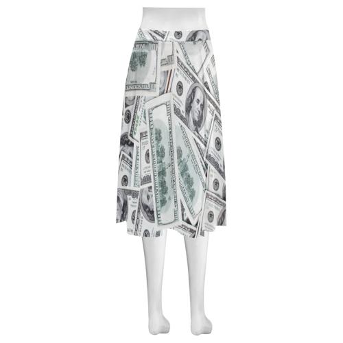 Cash Money / Hundred Dollar Bills Mnemosyne Women's Crepe Skirt (Model D16)