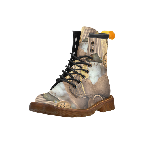 Funny steampunk cat High Grade PU Leather Martin Boots For Women Model 402H