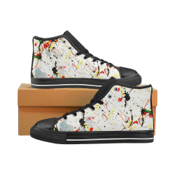 Yellow & Black Paint Splatter - Black High Top Canvas Shoes for Kid (Model 017)