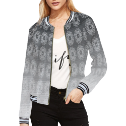 grey gradiant flowers All Over Print Bomber Jacket for Women (Model H21)