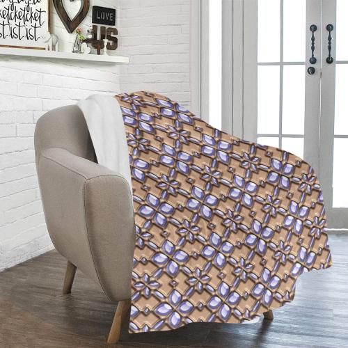 Blue glass pattern in brown background. Ultra-Soft Micro Fleece Blanket 43''x56''